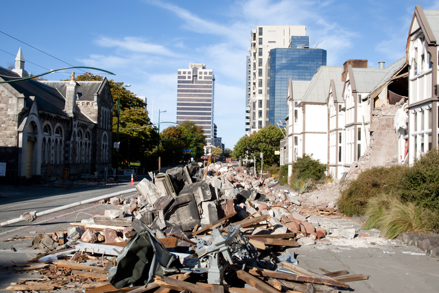 Debris from collapsed building following Christchurch earthquake